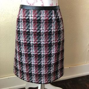 Halogen Pencil Skirt Faux Leather Waist 12P Wool